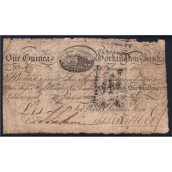 """GREAT BRITAIN Workington Bank. 1 Guinea. 3.6.1809. """"4 PENCE"""" EMBOSSED DUTY STAMP"""