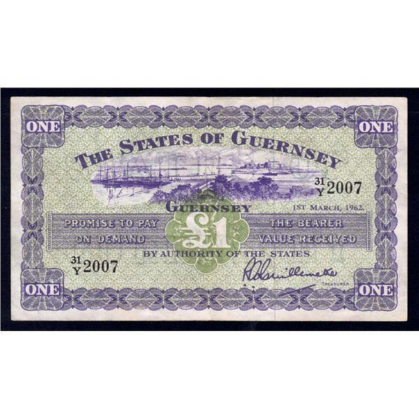 "GUERNSEY 1 Pound. 1.3.1962. Sig Guillemette. 2ND LAST PREFIX FOR DATE ""31/Y"""
