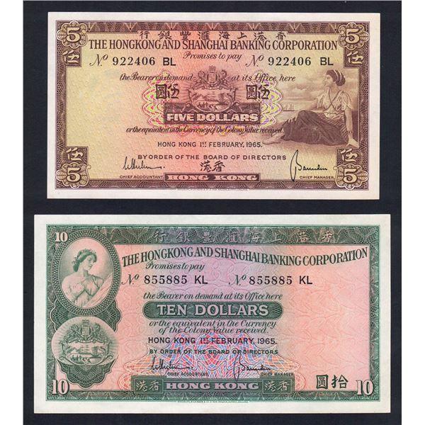HONG KONG H.K. & Shanghai Bank. 5 & 10 Dollars. 1.2.1965. EARLY DATE FOR TYPES