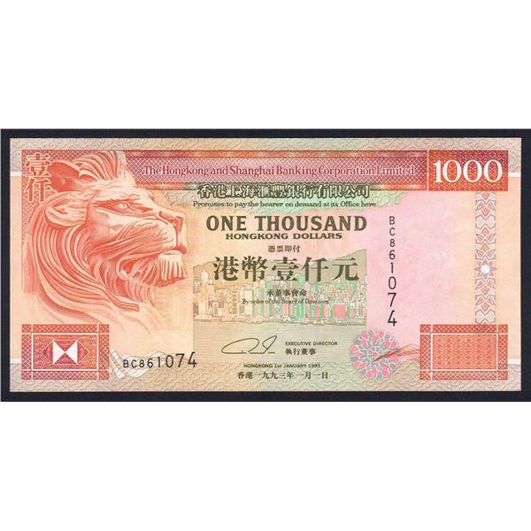 HONG KONG H.K. & Shanghai Bank. 1000 Dollars. 1.1.1993. 1ST DATE & NICER GRADE