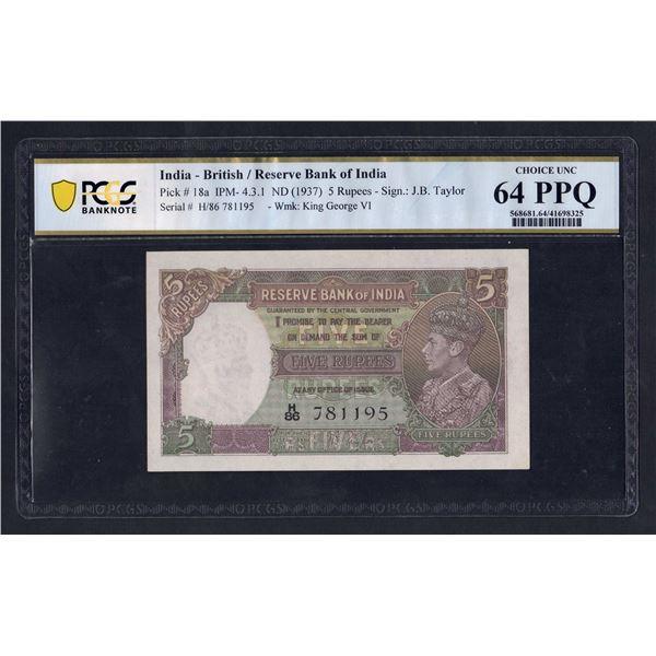 INDIA 5 Rupees. 1937. George VI Portrait. SIG TAYLOR