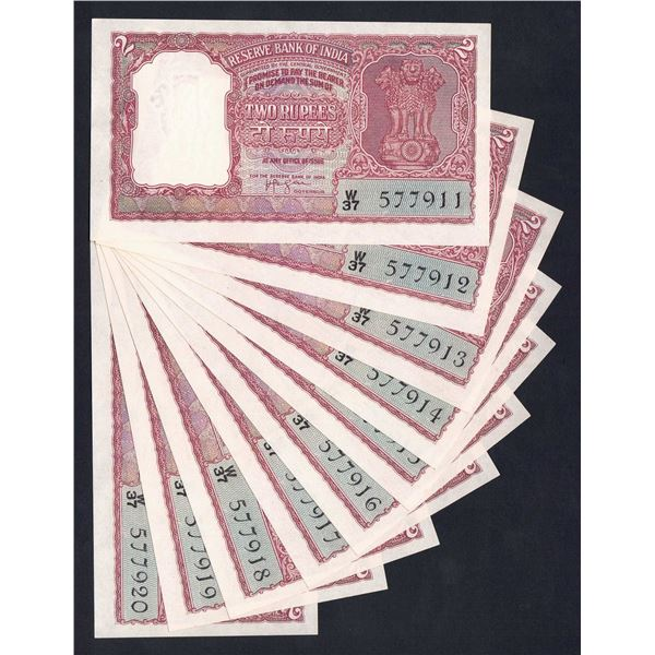 INDIA 2 Rupees. 1957. Sig Iengar. SCARCE CONSECUTIVE RUN OF 10
