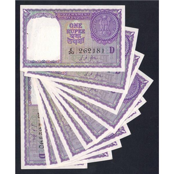 "INDIA 1 Rupee. 1957. Sig Jha. Letter ""D"". CONSECUTIVE RUN OF 10"