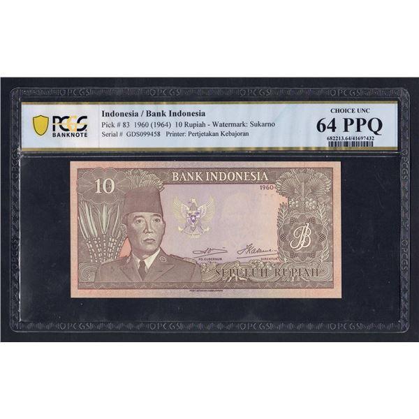 INDONESIA  10 Rupiah. 1960 (1964). WMK SUKARNO