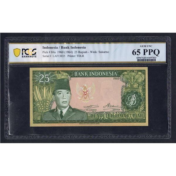 """INDONESIA  25 Rupiah. 1960 (1964). Wmk Sukarno. PREFIX """"3 LETTERS"""""""