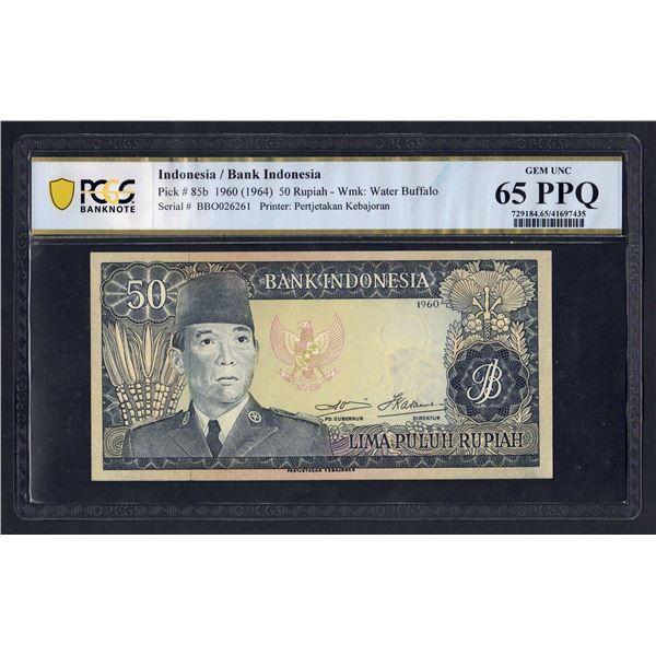 "INDONESIA  50 Rupiah. 1960 (1964). Wmk Water Buffalo. PREFIX ""3 LETTERS"""