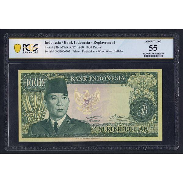 """INDONESIA  1000 Rupiah. 1960 (1964). Wmk Water Buffalo. RARE PREFIX """"X"""" REPLACEMENT"""