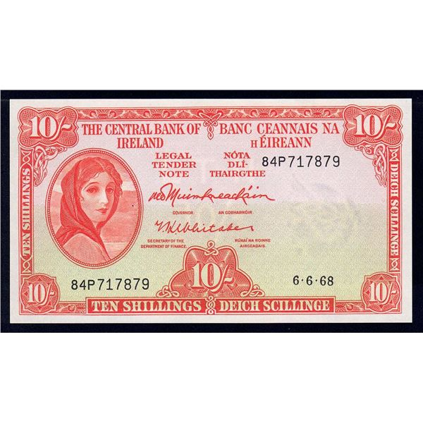 IRELAND 10 Shillings. 6.6.1968. Sig Muimhneachain-Whitaker. LAST DATE OF ISSUE