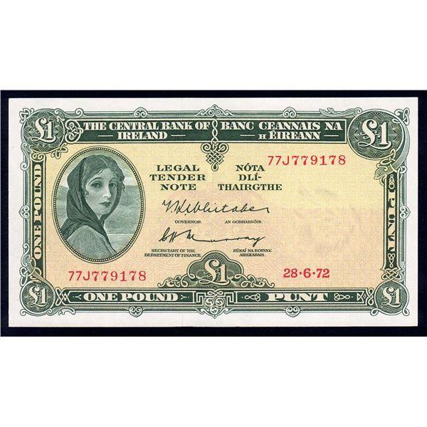 IRELAND 1 Pound. 28.6.1972. Sig Whitaker-Murray. WITH METALLIC THREAD