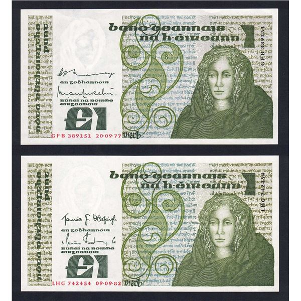 IRELAND 1 Pound. 20.9.1977 & 9.9.1982. Sig Murray-Murchu & O'Cofaigh-Doyle