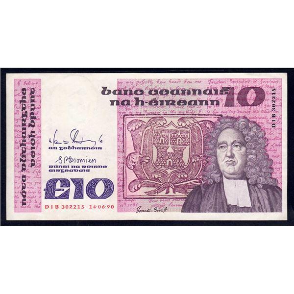 IRELAND 10 Pounds. 14.6.1990. Sig Doyle-Cromien. HANDSOME HIGH VALUE!