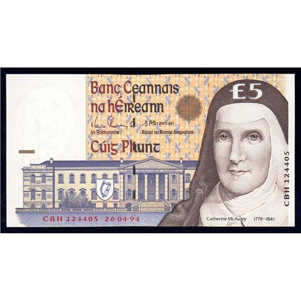 IRELAND 5 Pounds. 26.4.1994. Sig Doyle-Cromien. CATHERINE McAULEY PORTRAIT