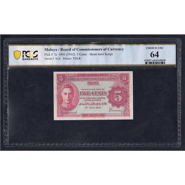 MALAYA 5 Cents. 1.7.1941 (1945). GEORGE VI. Script A/Portrait 3