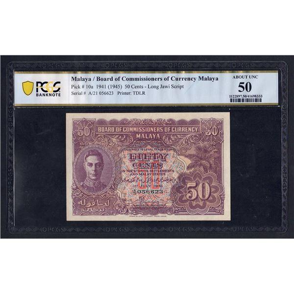 MALAYA 50 Cents. 1.7.1941 (1945). GEORGE VI. Script A/Portrait 3