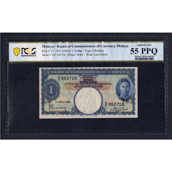 MALAYA 1 Dollar. 1.7.1941 (1945). GEORGE VI. Portrait 3
