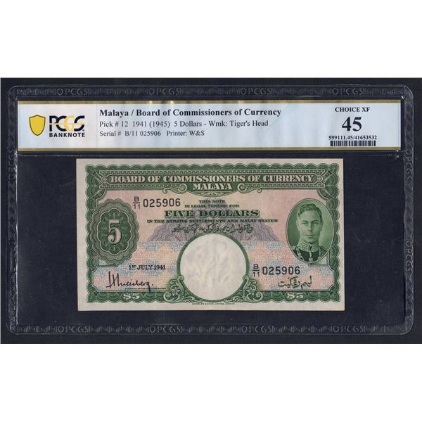 MALAYA 5 Dollars. 1.7.1941 (1945). GEORGE VI. Portrait 3
