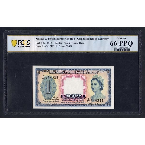 MALAYA & BRITISH BORNEO 1 Dollar. 21.3.1953. QEII PORTRAIT