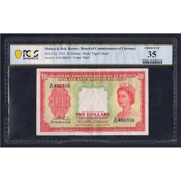 MALAYA & BRITISH BORNEO 10 Dollars. 21.3.1953. QEII PORTRAIT