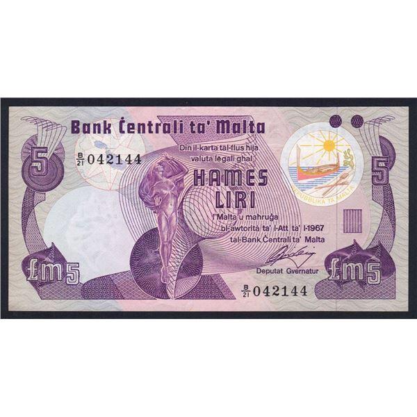 MALTA 5 Liri. 1979. 2 DOTS FOR BLIND