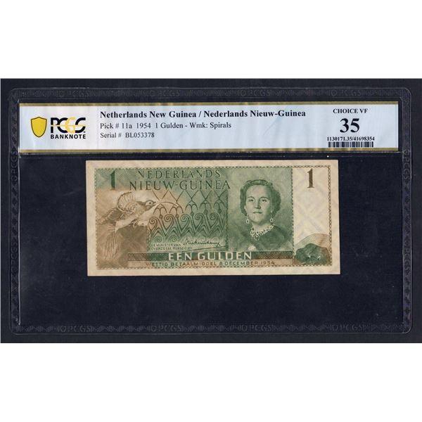 """NETHERLANDS NEW GUINEA 1 Gulden. 8.12.1954. SUPERB """"BIRD OF PARADISE"""" DESIGN"""