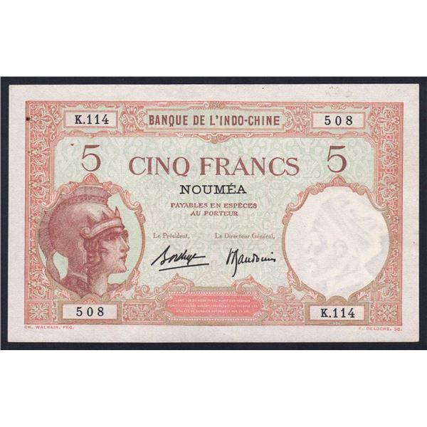 NEW CALEDONIA 5 Francs. 1940. Sig Borduge-Baudouin. SUPERB GRADE