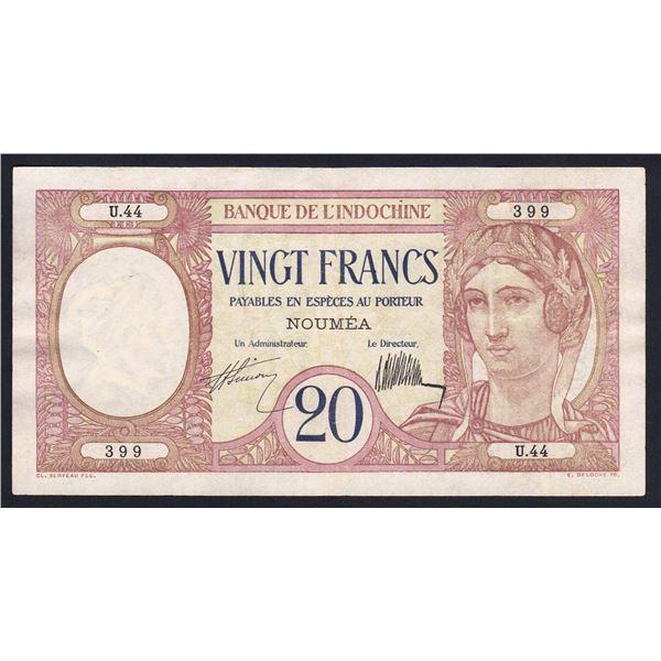 NEW CALEDONIA 20 Francs. 1929. Sig Simon-de la Chaume. SCARCE