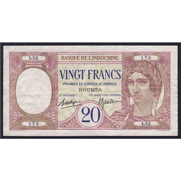 NEW CALEDONIA 20 Francs. 1940. Sig Borduge-Baudouin