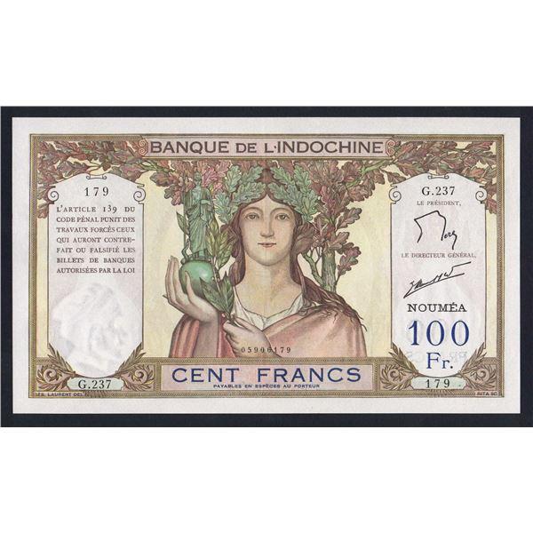 NEW CALEDONIA 100 Francs. 1963. Sig de Flers-Robert. CRISP EXAMPLE!