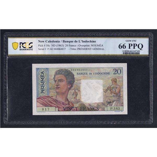 NEW CALEDONIA 20 Francs. 1963. Sig de Flers-Robert. DITTO!