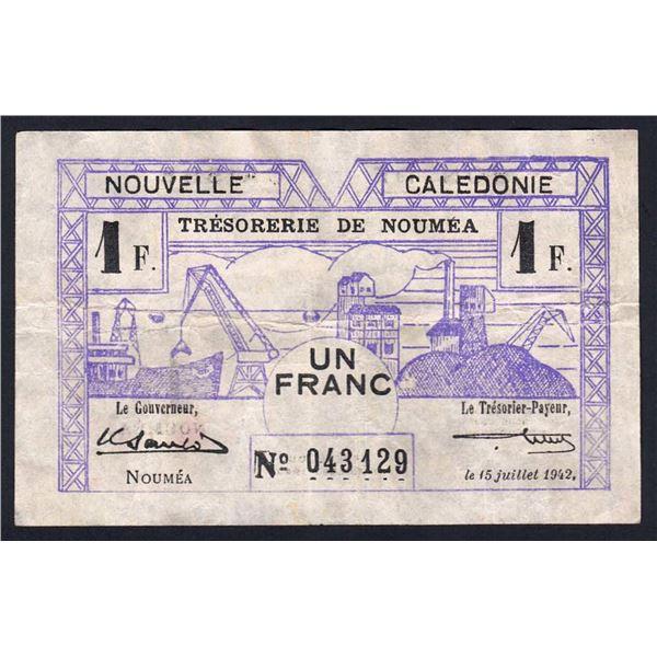 NEW CALEDONIA 1 Franc. 15.7.1942. Sig Sautot-Blum. WWII EMERGENCY