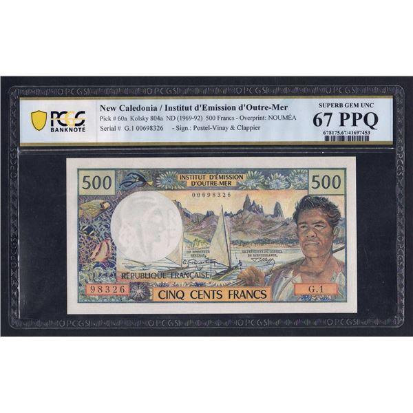 NEW CALEDONIA 500 Francs. 1969. Sig Postel Vinay-Clappier