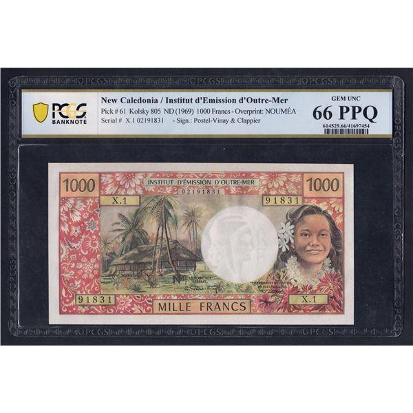 "NEW CALEDONIA 1000 Francs. 1969. W/O ""REPUBLIQUE FRANCAISE"" Sig Postel Vinay-Clappier"