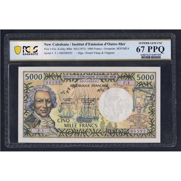 """NEW CALEDONIA 5000 Francs. 1971. Sig Postel Vinay-Clappier. LAST PREFIX """"F.1"""""""