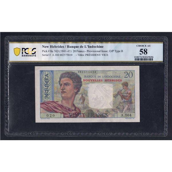 NEW HEBRIDES 20 Francs. 1954. Sig Minost-de Flers