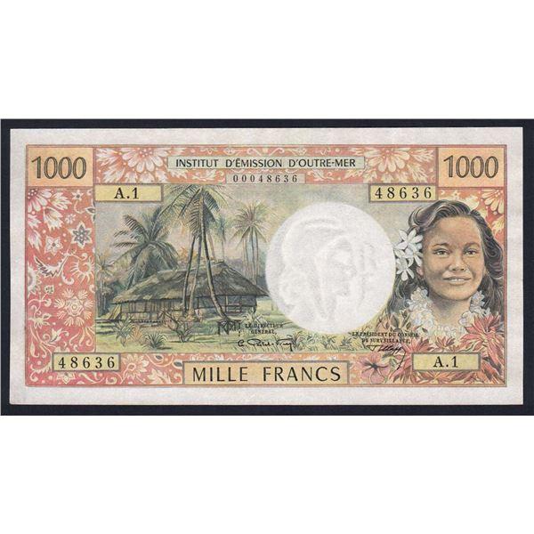 """NEW HEBRIDES 1000 Francs. 1967. Sig Postel Vinay-Clappier. 1ST PREFIX """"A.1"""""""