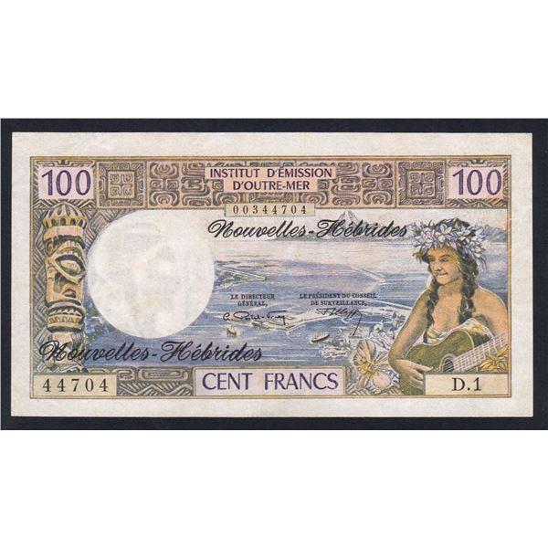 NEW HEBRIDES 100 Francs. 1970. Sig Postel Vinay-Clappier. INTAGLIO PRINTING