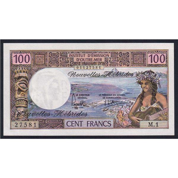 NEW HEBRIDES 100 Francs. 1975. Sig Panouillot-de Lattre