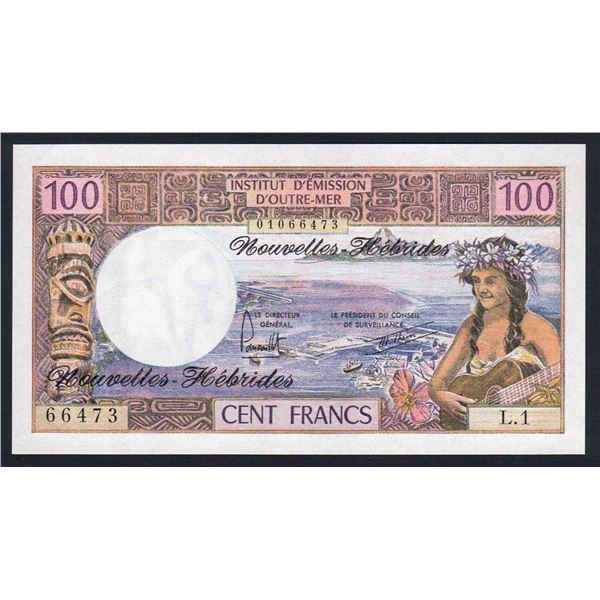 NEW HEBRIDES 100 Francs. 1977. Sig Panouillot-Theron