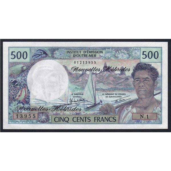 """NEW HEBRIDES 500 Francs. 1980. Sig Rolland Billecart-Theron. 1ST PREFIX """"N.1"""""""
