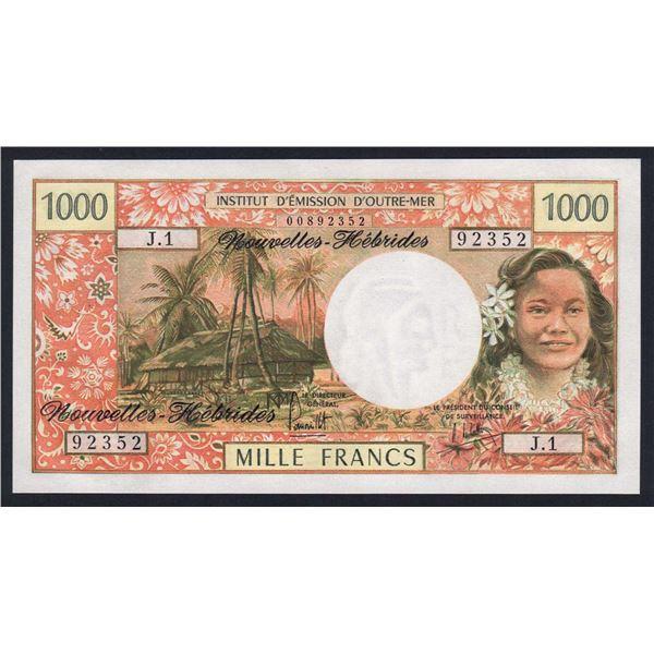 NEW HEBRIDES 1000 Francs. 1975. Sig Panouillot-de Lattre