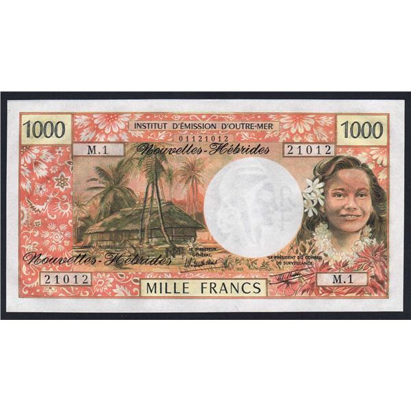 """NEW HEBRIDES 1000 Francs. 1979. Sig Rolland Billecart-Theron. 1ST PREFIX """"M.1"""""""