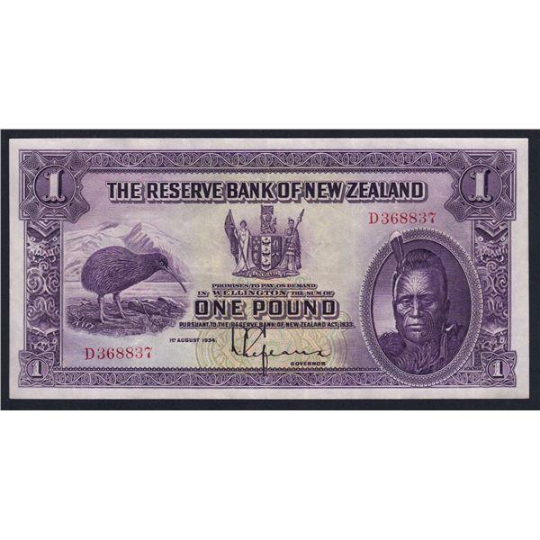 """NEW ZEALAND 1 Pound. 1.8.1934. Sig Lefeaux. PREFIX """"SINGLE LETTER"""""""