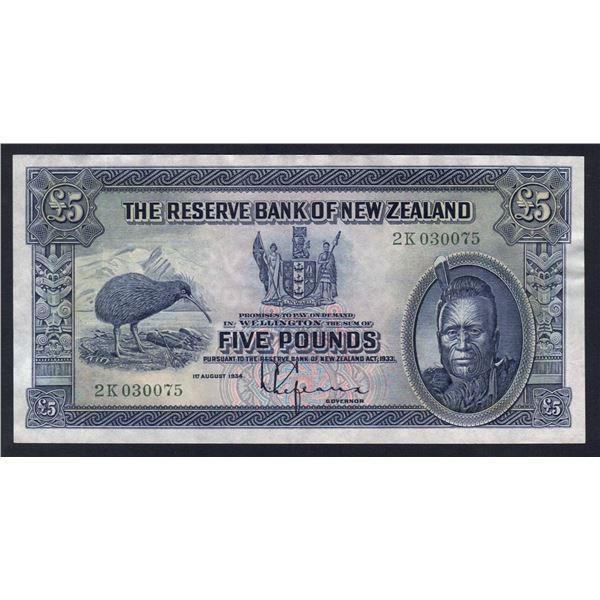 """NEW ZEALAND 5 Pounds. 1.8.1934. Sig Lefeaux. PREFIX """"NUMBER LETTER"""""""