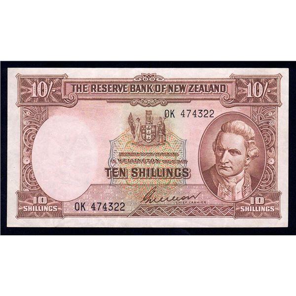 "NEW ZEALAND 10 Shillings. 1955. Sig Wilson. DITTO - SCARCE LAST PREFIX ""0K"""