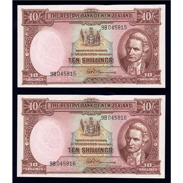 NEW ZEALAND 10 Shillings. 1960. Sig Fleming. With Thread. CONSECUTIVE PAIR