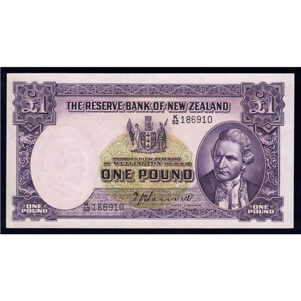 "NEW ZEALAND 1 Pound. 1952. Sig Hanna. SCARCE PREFIX ""K/52"""