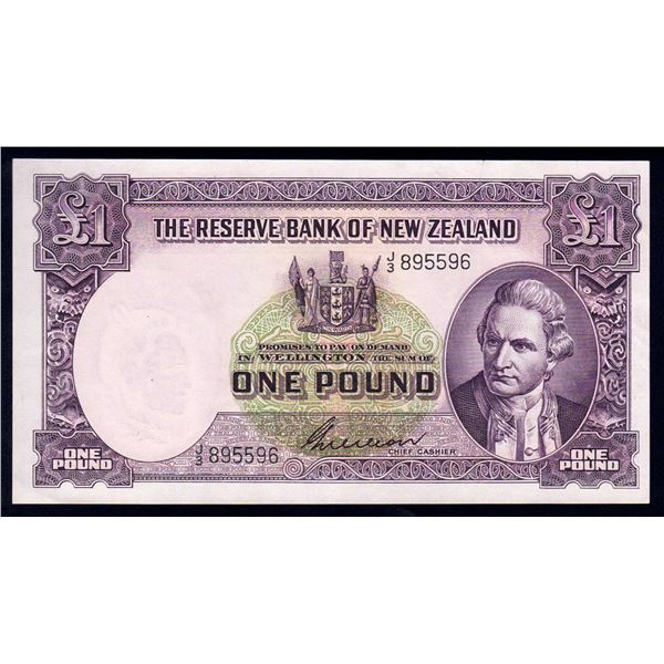 "NEW ZEALAND 1 Pound. 1955. Sig Wilson. PREFIX ""LETTER/NUMBER"""