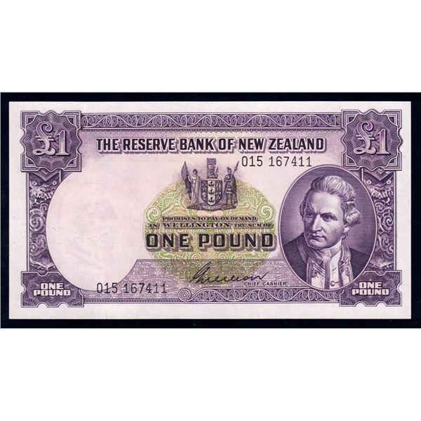 "NEW ZEALAND 1 Pound. 1955. Sig Wilson. PREFIX ""THREE NUMBERS"""
