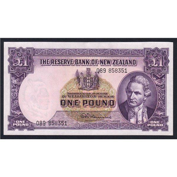NEW ZEALAND 1 Pound. 1956. Sig Fleming. WITHOUT THREAD