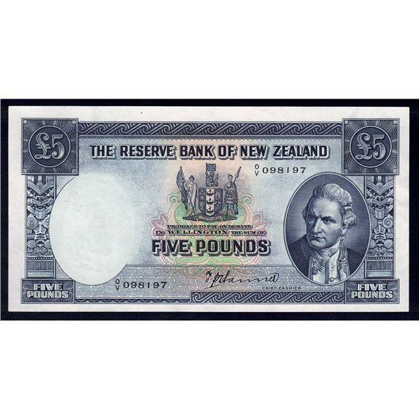 NEW ZEALAND 5 Pounds. 1940. Sig Hanna. SCARCE THIS NICE!